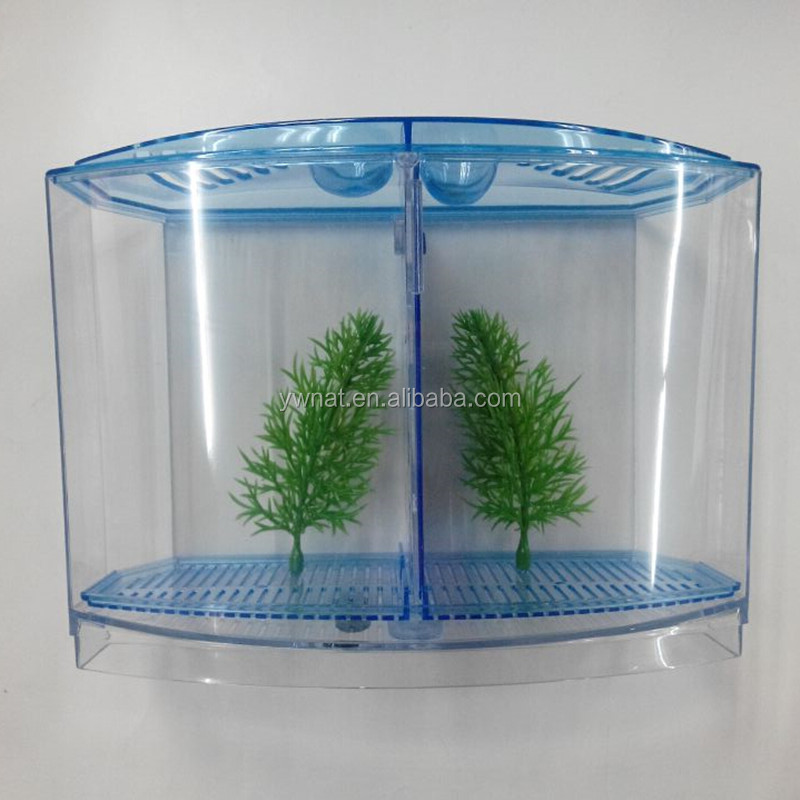 Plastic eco friendly hotsale double betta fish house for Double fish tank