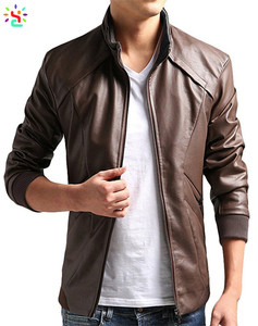Coffee brown color leather jacket for men zipper jacket windproof outwear mens pu leather jackets stand collar outwears