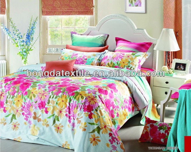 100% Cotton China custom reactive printed duvet cover set with zipper