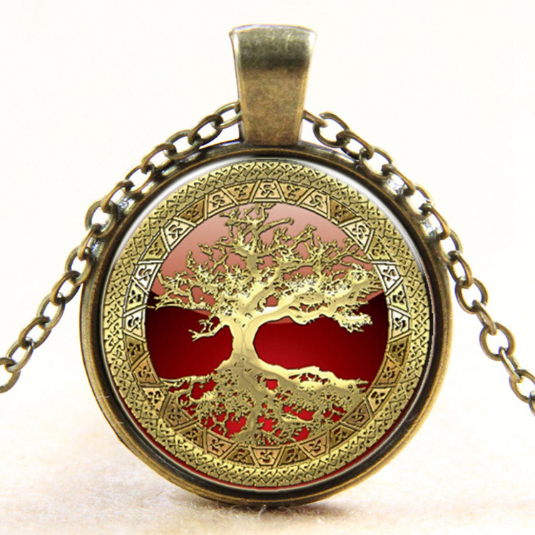 XP-TGN-LT-123 Latest Vintage Meaningful Glass Life Tree Pendant Time Charm Round Cabochon Necklace For Promotional Gift