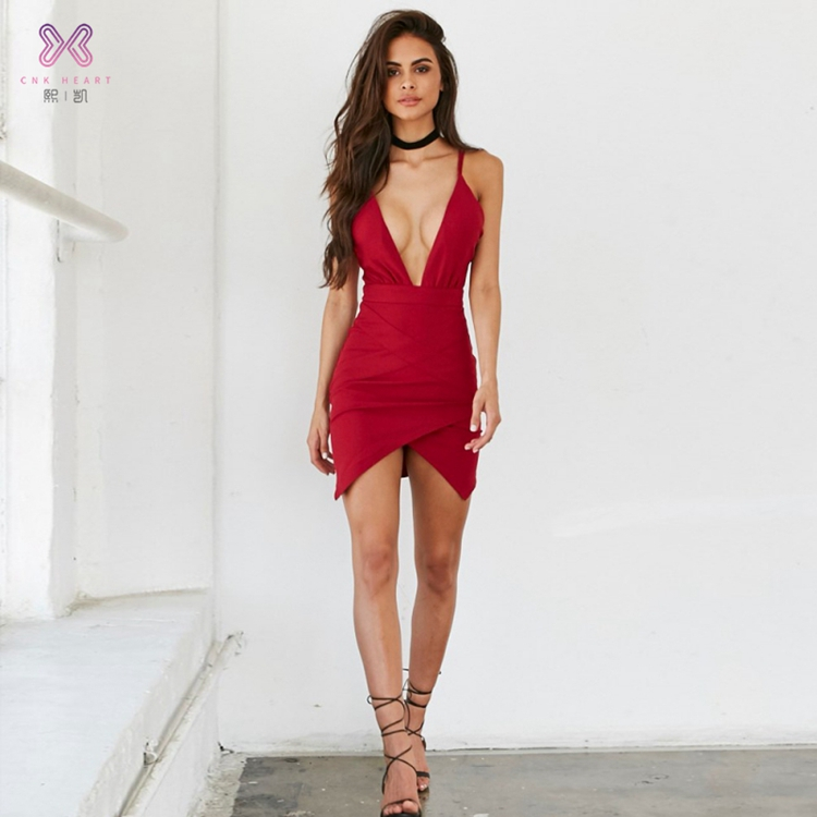 2019 latest design female red frill midi dresses classic women sexy dress