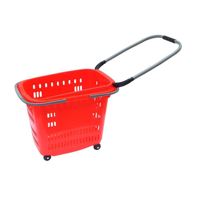 Wholesale price colorful plastic rolling shopping basket with wheels