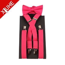 Mens Womens Y-Shape Adjustable Elastic Clip-on Suspenders Braces with bowties