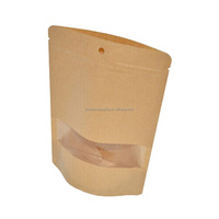 Biodegradable washable ziplock stand up brown kraft paper bag with clear window