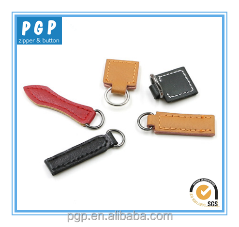 Fancy leather slider zipper pulls with leather