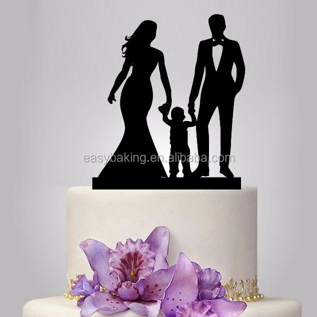 ECT-024 acrylic Wedding Cake Topper Silhouette, funny Wedding Cake Topper, Bride and Groom and little boy topper, happy family wedding cake topper.jpg