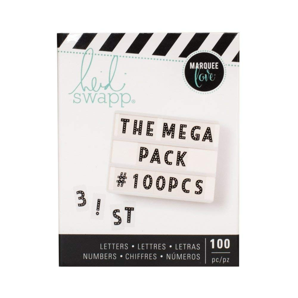 American Crafts Heidi Swapp Lightbox Mega Alphabet Pack - Punctuations and Numbers - 100 Pieces - Black
