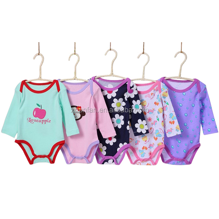 100% organic cotton 5 pack long sleeve baby girl bodysuits