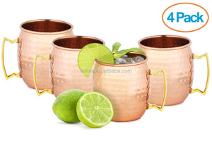Set of 4 Handmade Moscow Mule Mug 100% Pure Copper Cup Hammered With Brass Handle