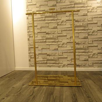 Gold Color Single Pole Clothing Rack Garment