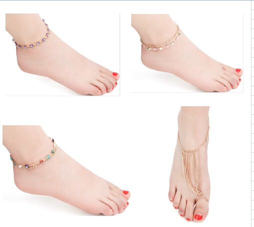 Queena Wholesale New Design Multi-colored Crystal Hotwife Anklets Evil Eye Anklets
