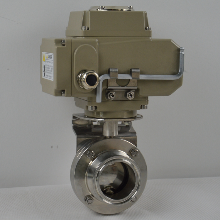 food grade cf8m tri-clamp ending motorized butterfly control <strong>valve</strong> sanitary
