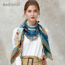 BAOSHI factory luxury silk scarf women 100% silk satin twill chiffon georgette scarf women