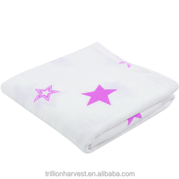 Lila Sterne Bambus Baumwolle Stoff Tuch Baby Musselin Swaddle Wrap