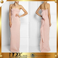 silk lace pink evening dress