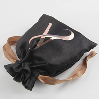 Nylon bag with custom logo ribbon drawstring pouches