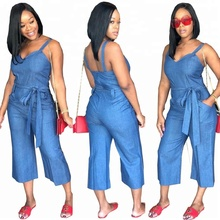 B31342A OEM laatste hot koop knipsel vrouw sexy blue denim jeans <span class=keywords><strong>jumpsuit</strong></span>