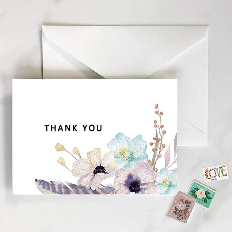 Custom 수채화 Thank you cards sets 상자 포장 풀 한 printing custom available