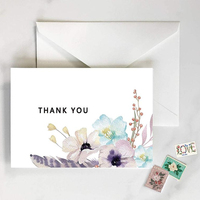 Custom watercolor Thank you cards sets box packing colorful printing custom available