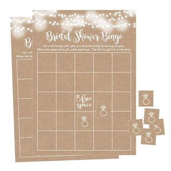 Bingo Game Cards For Bridal Wedding Shower and Bachelorette Party, Bulk Blank Squares To Fill In Gift Ideas