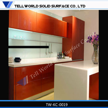 Klasik Putih Pvc Foil Thermal Dapur Kabinet Bar Counter Busana Moden Meja