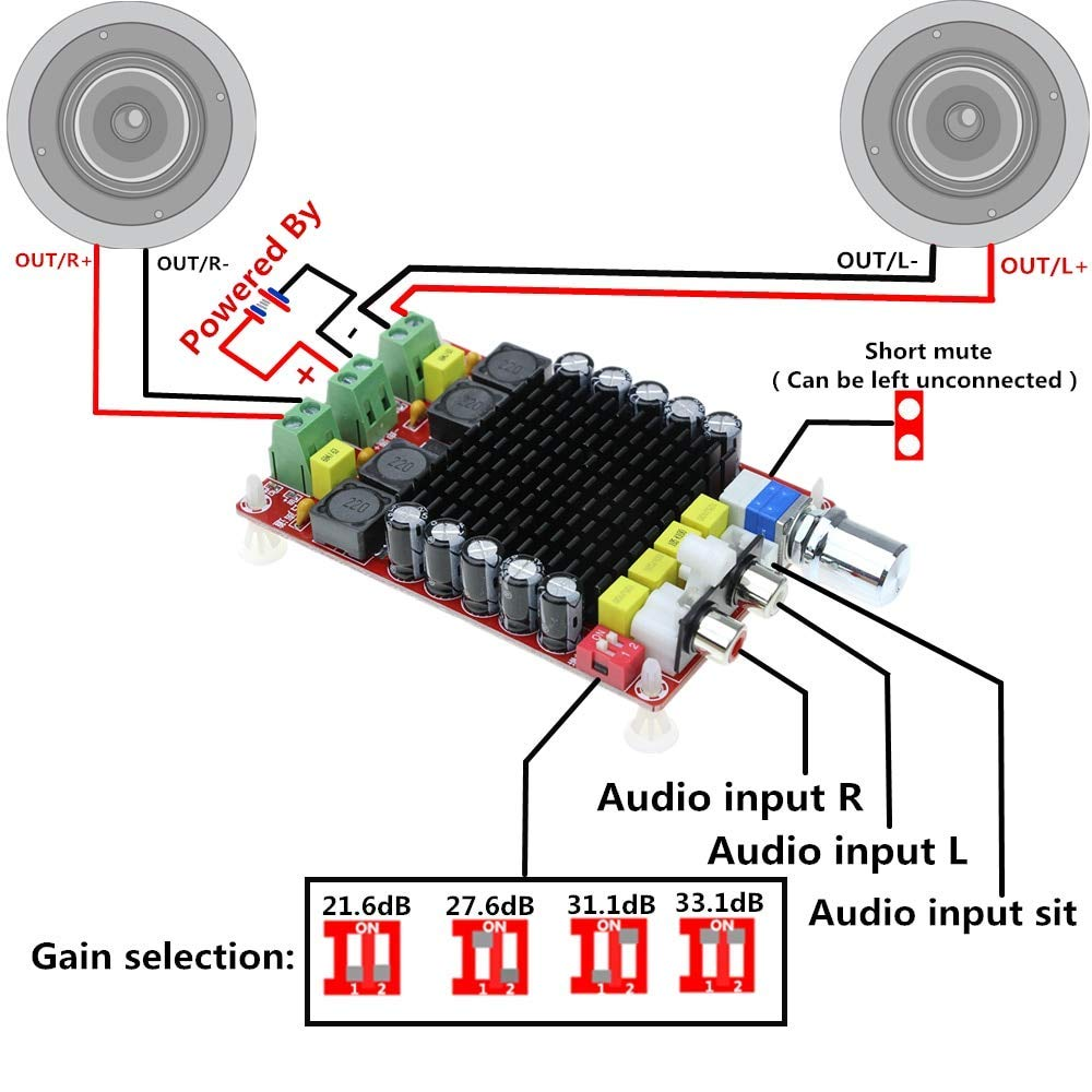 TDA7498 2x100W Digital Power Amplifier Board Audio Amplifier Class D Dual Audio Stereo DC 14-34V XH-M510