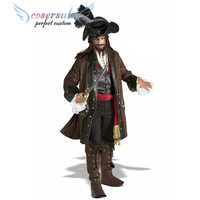 Halloween costume cosplay jack captain male pirate clothes caribbean pirate bandet stage costume