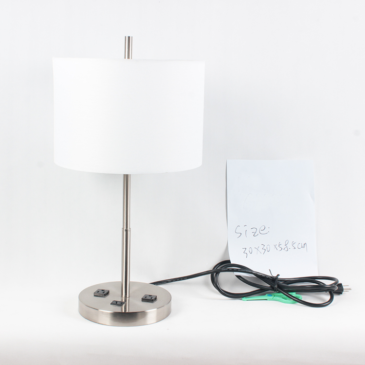 New modern 호텔 style 표 lamp with electric power outlet USB charging 메트 vintage desk lamp 닦 았 nickel finish