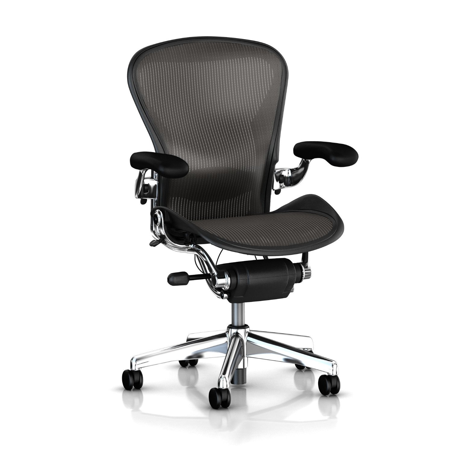 Herman Miller Executive Aeron Task Chair: Highly Adjustable w/PostureFit Lumbar Support - Fully Adjustable Leather Arms - Tilt Limiter - Size B - Standard Carpet Casters - Polished Aluminum Frame/Carbon Classic Pellicle