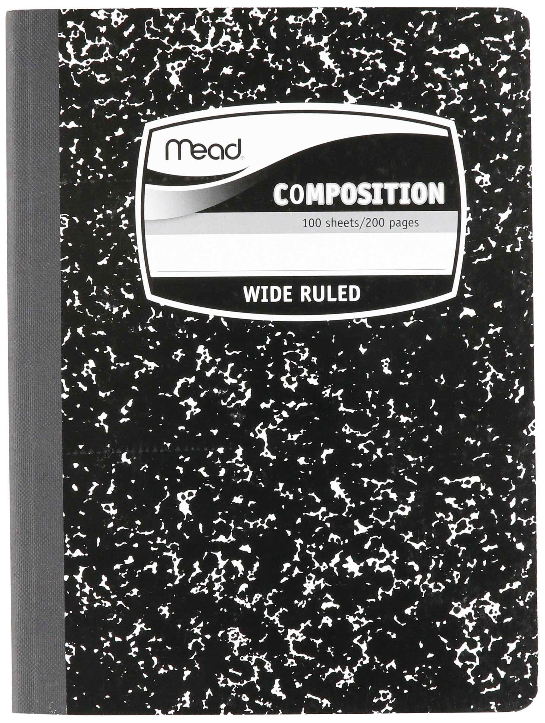 """MEA09910 - Sewn Black Marble Cover Composition Book with Wide Rule 11/32, 100 Sheet, Media Size: 7.5"""" x 9.75"""""""