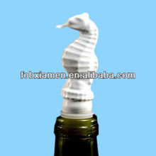 Ceramic novelty white custom seahorse pourer beer bottle stopper