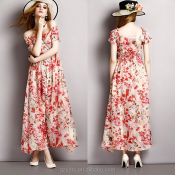 2015 New designs women ladies casual floral printed chiffon summer long  dresses e2990de4c