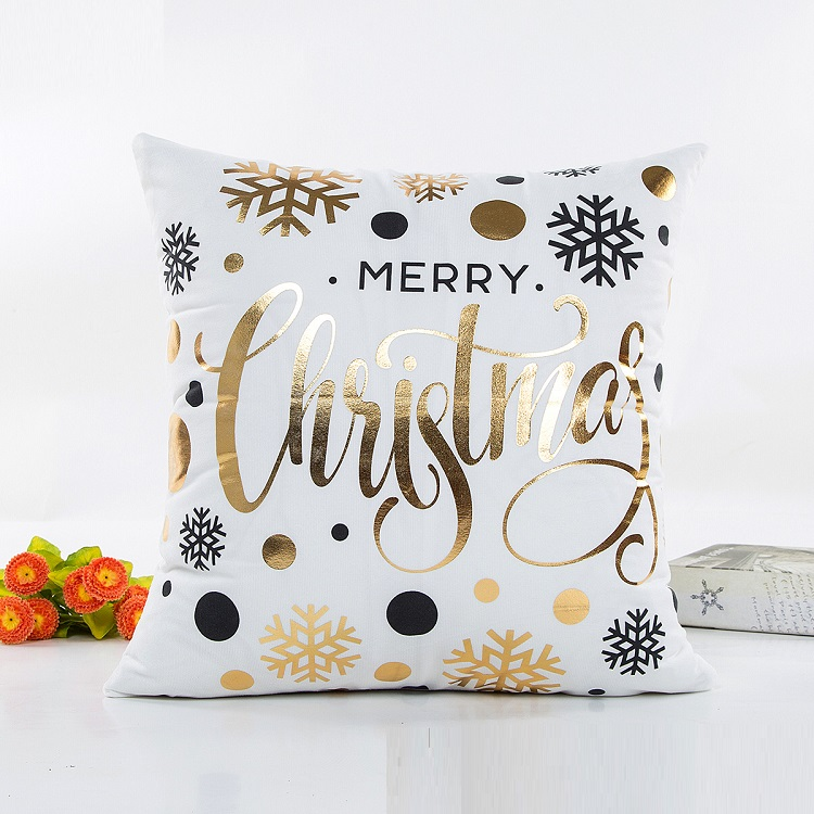 wholesale polyester colorful merry christmas design gold bronzing decorative throw pillow case covers