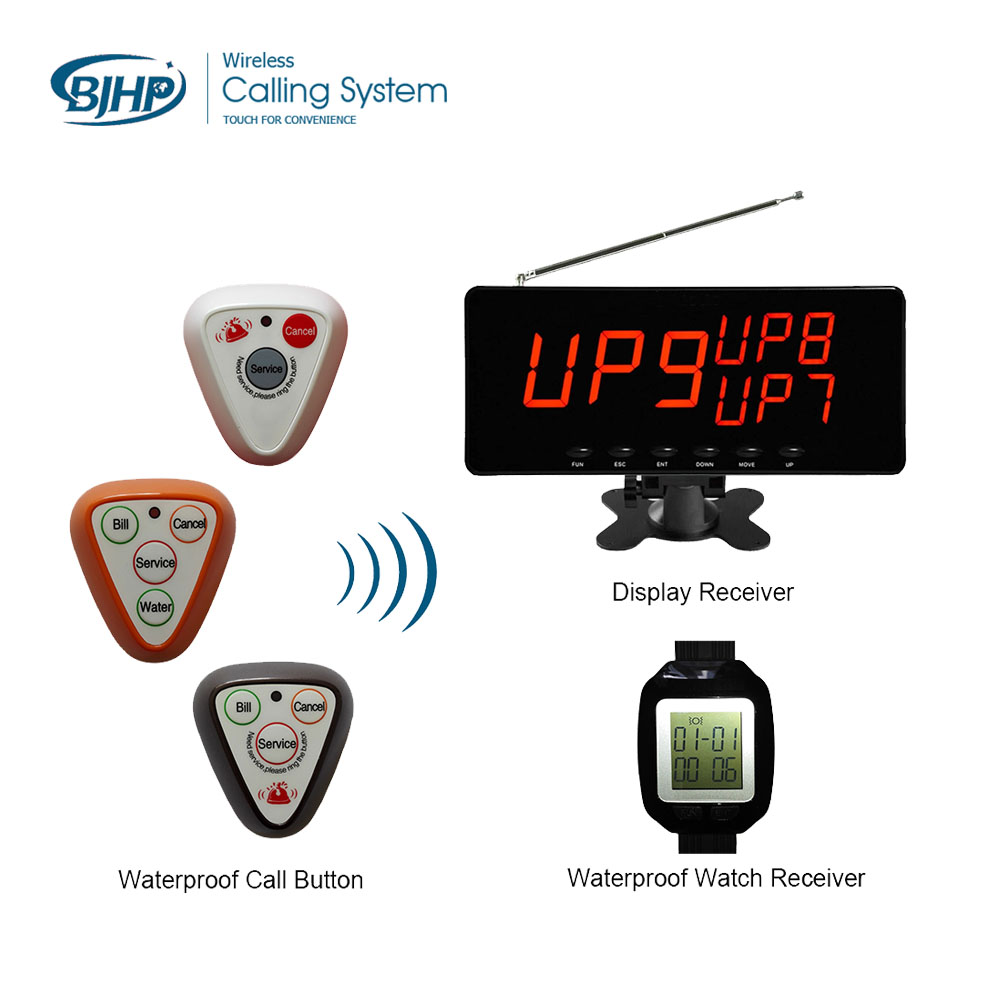 waterproof call button , display receiver, restaruant guest service calling system