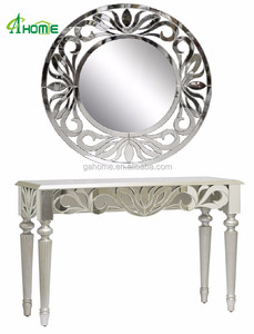 Modern simple elegent design cheap Circles Silver Beveled mirror Console Table