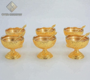 Set for 6 Tulip Design Metal Gold Plated Glass Ice Cream Cup Bowl With Spoon