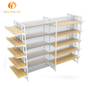 Functional supermarket shelf shop fitting wood gondola shelving for clothes and bag display