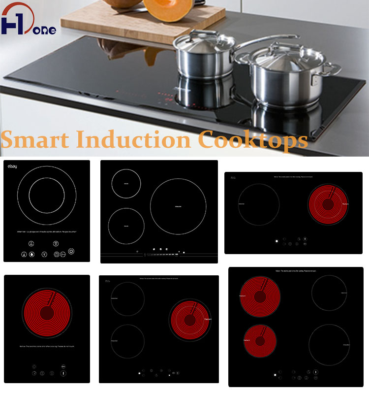 H-one Nice Reviews Black Half-Bridge Drive Copper Coil Double Burner Built-In Crystal Panel Infrared Cooker For Top Oven
