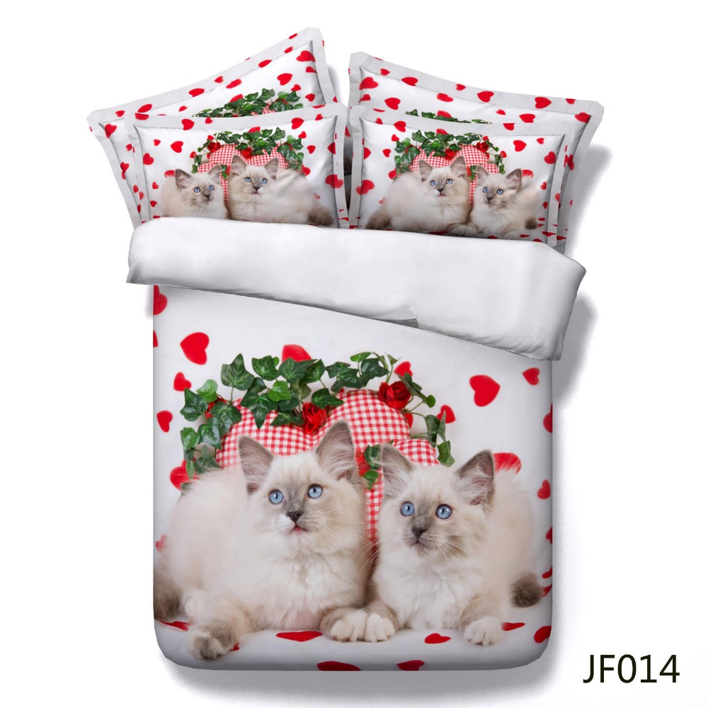 Pretty Blue Eyes Cats and Red Love Hearts 3d Bed linen