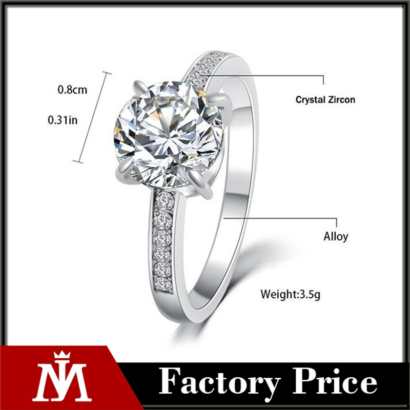 2017 Fashion Design Elegant Luxury Charm Austrian Crystal Zircon Ring Wedding Engagement Bridal Jewelry Rings For Women