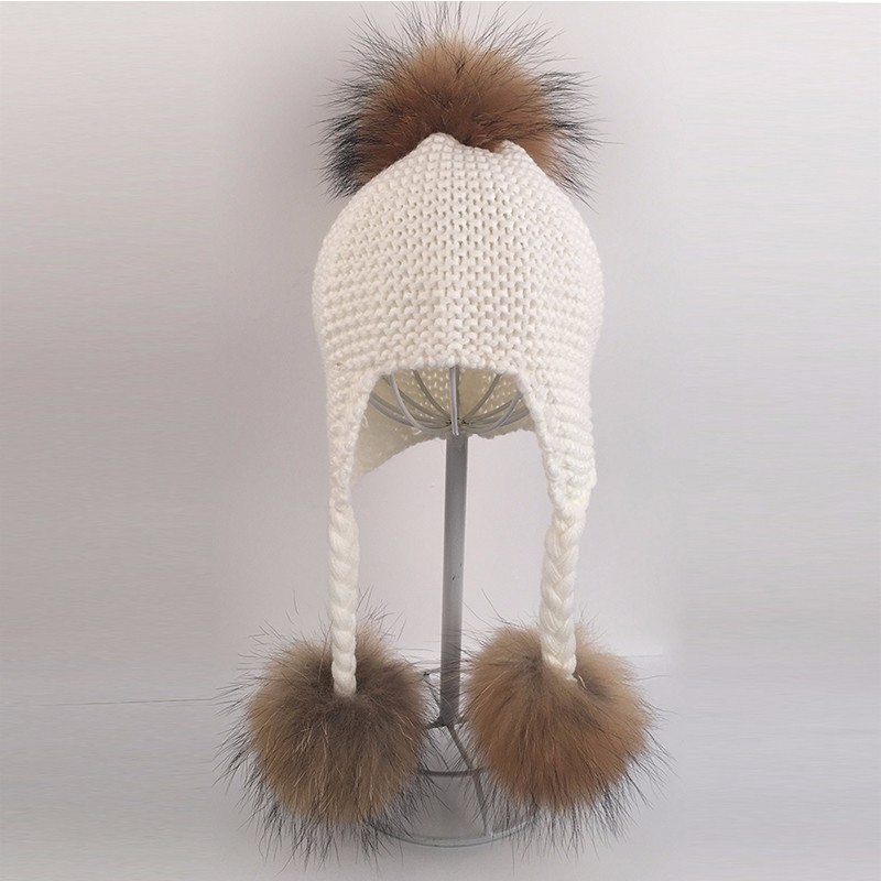 Myfur Pure White Cute Raccoon Fur Pompoms Removable Knitted Spring Hat and Cap