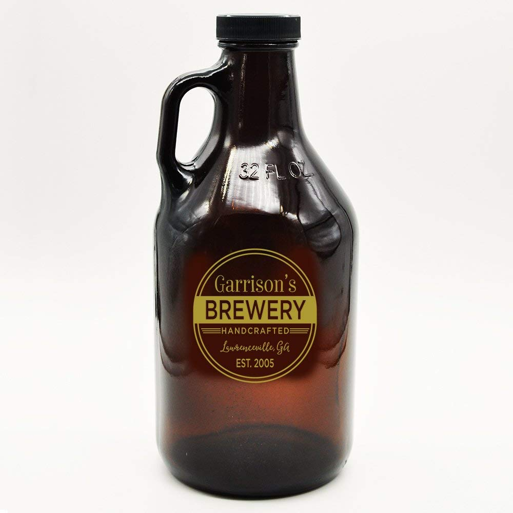 Custom Amber Growler Brewery Logo Design | Personalized Gifts | Beer Brewing | Beer Growlers Custom Logo | Custom Gifts for Guys | Craft Brewing (32, Gold)