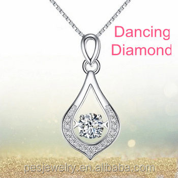 PES fine jewelry! Dancing Diamond Accent Teardrop Pendant Necklace (PES3-1249)