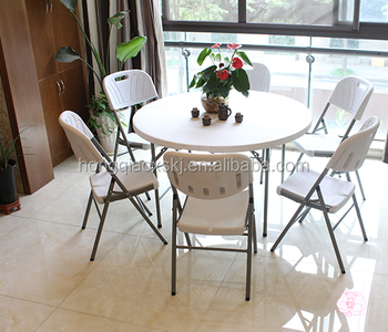 4 Feet Hdpe High Quality Plastic Folding Round Table, Banquet Folding Table,  Restaurant Round
