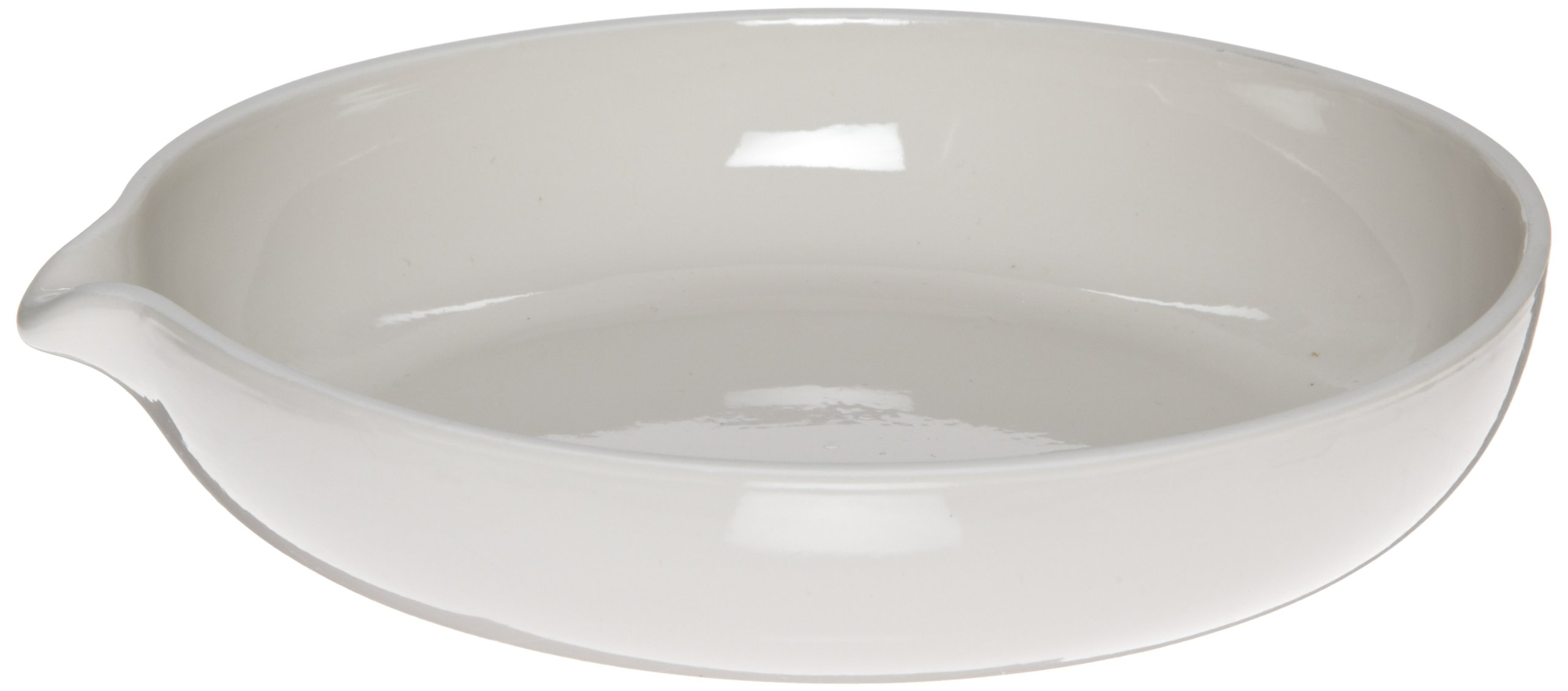 CoorsTek 60232 Porcelain Ceramic Evaporating Dish with Pouring Lip, 75mL Capacity, 90mm OD, 22mm Height, Shallow Form (Case of 18)