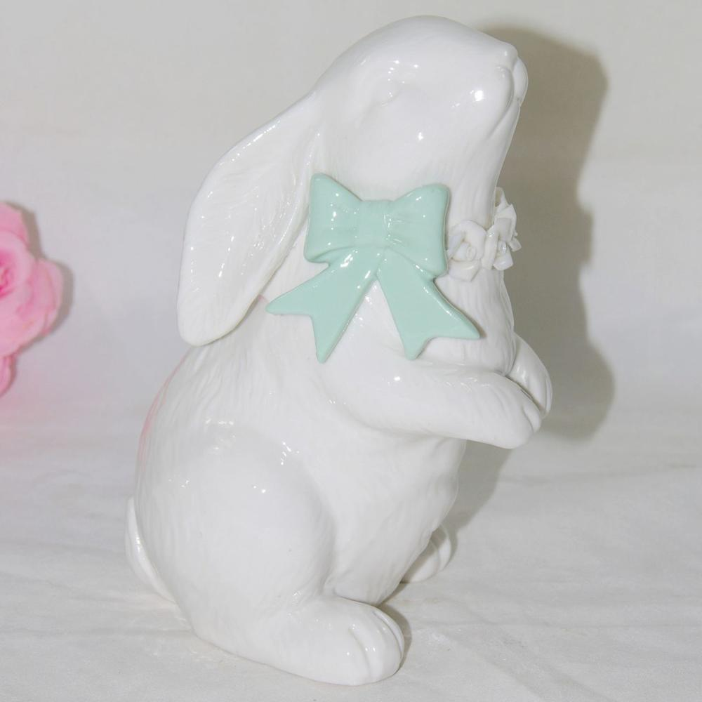 BSCI Audit Factory EASTER bunny glazed white Ceramic <strong>rabbit</strong>, decorative easter <strong>rabbit</strong> figurines