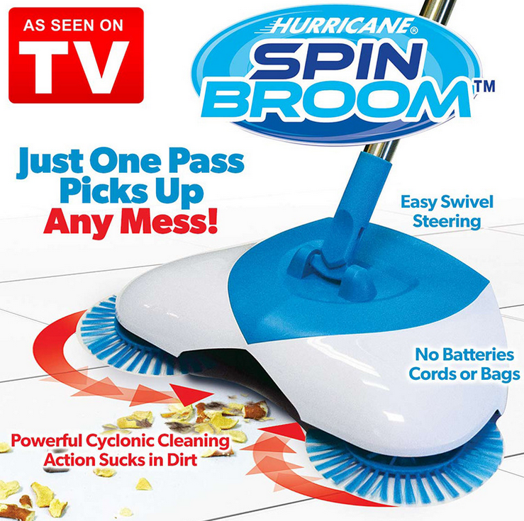 New! As Seen On TV! Sweep Easy Spin Broom Lightweight Spinning Broom