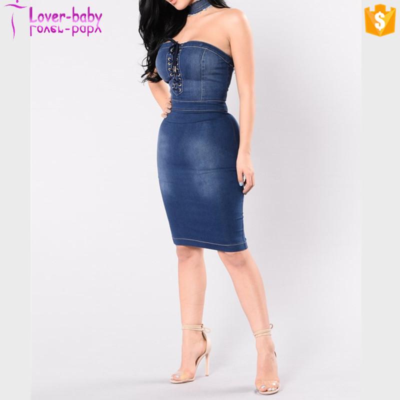 Wholesale Strapless Bodycon Dress Jean Dress Plus Size Denim Dress
