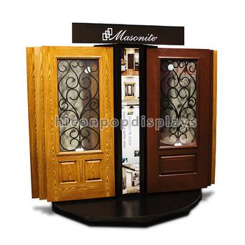 Metal Home Decoration Floor Standing Black Metal Material Sample Wooden Cabinet  Door Display Rack