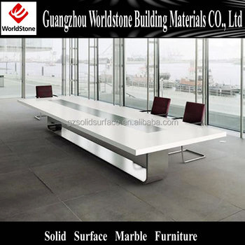 White Lacquer Acrylic Solid Surface Conference Office Table